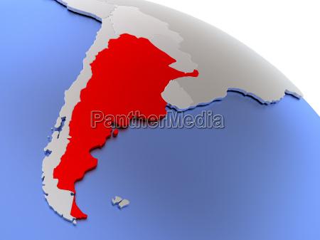 argentina on world map