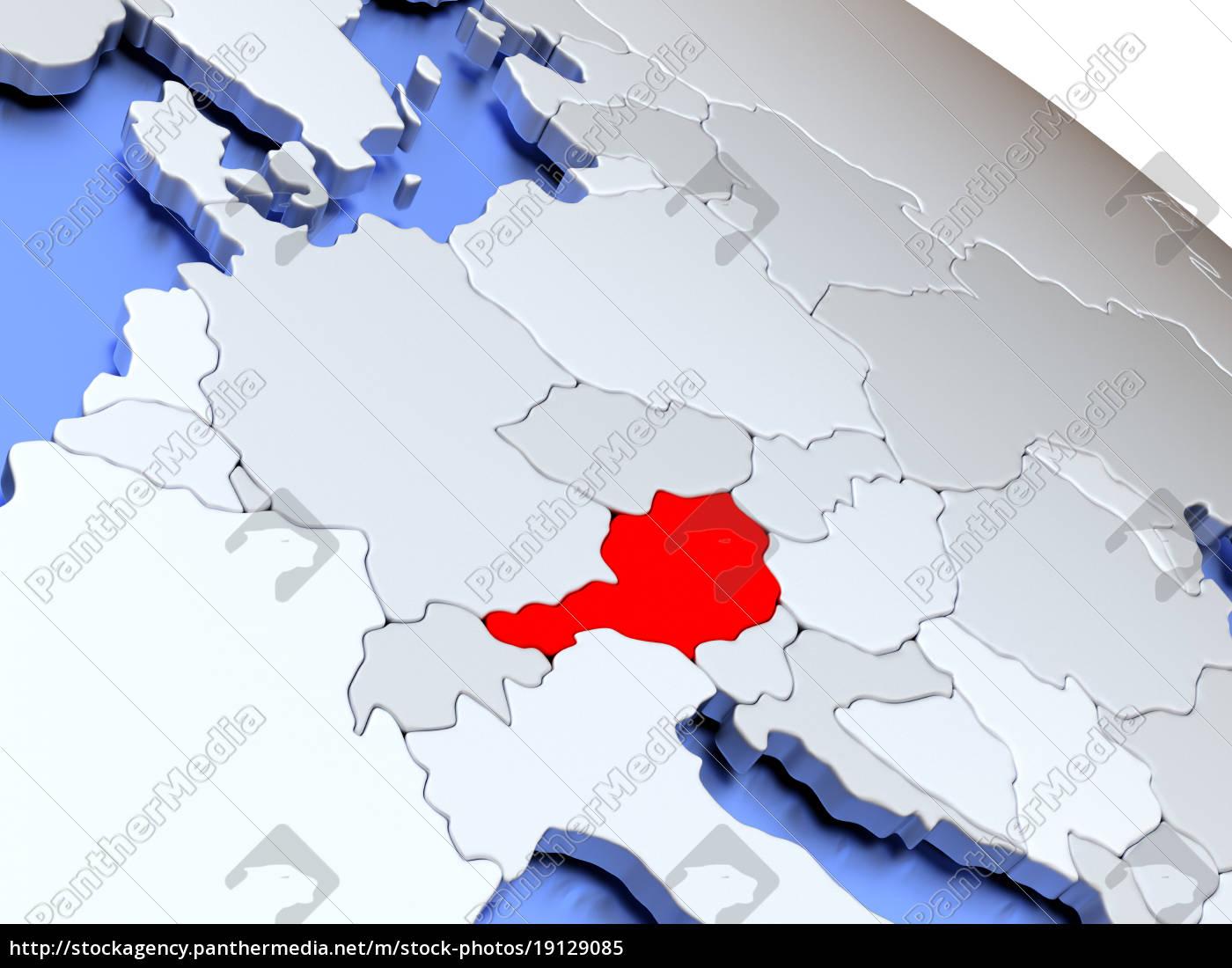 austria, on, world, map - 19129085