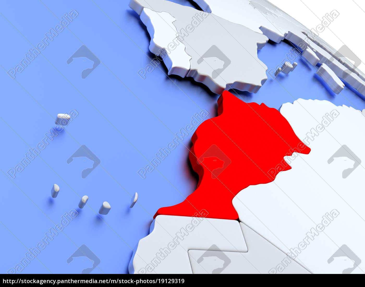 morocco, on, world, map - 19129319