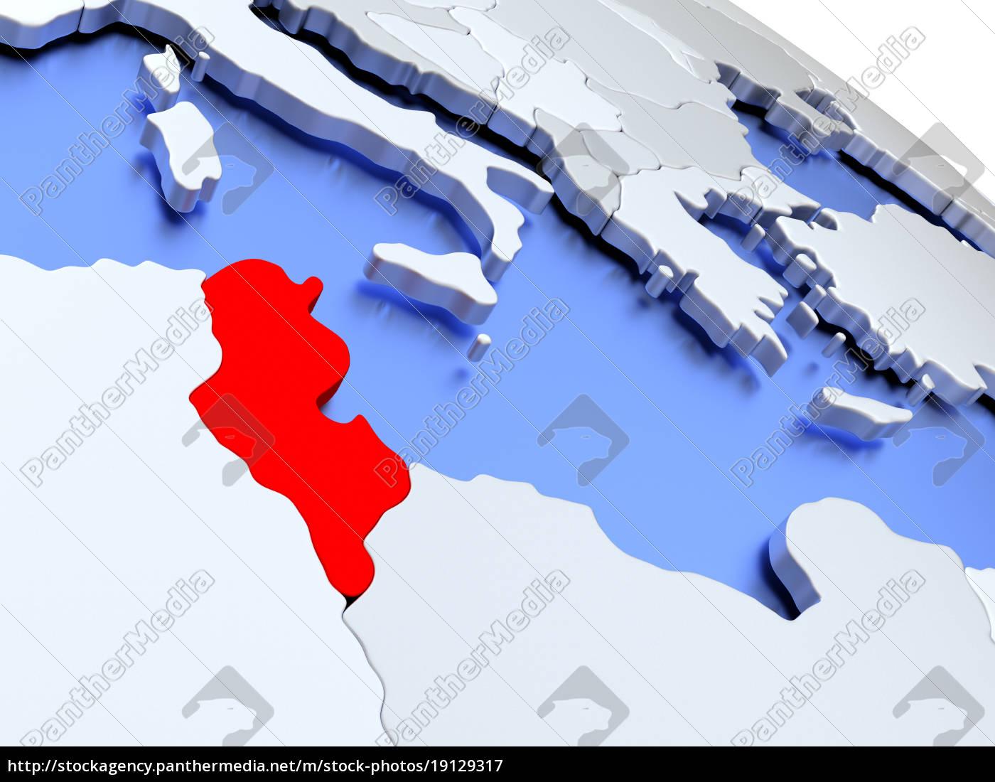 tunisia, on, world, map - 19129317