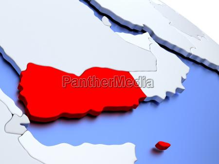 yemen, on, world, map - 19129123
