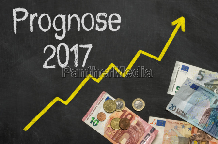 blackboard with money forecast 2017