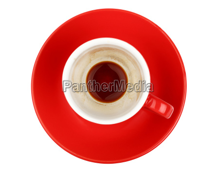 empty espresso coffee in red cup