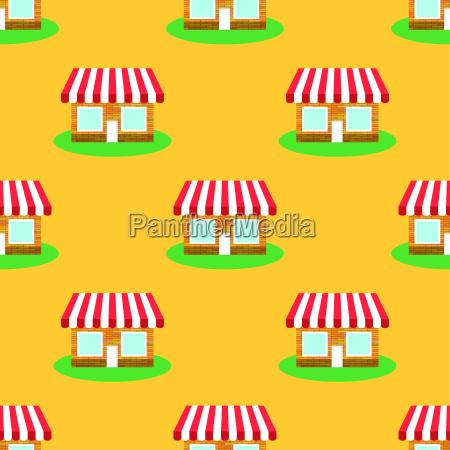 seamless smaii shop pattern on yellow