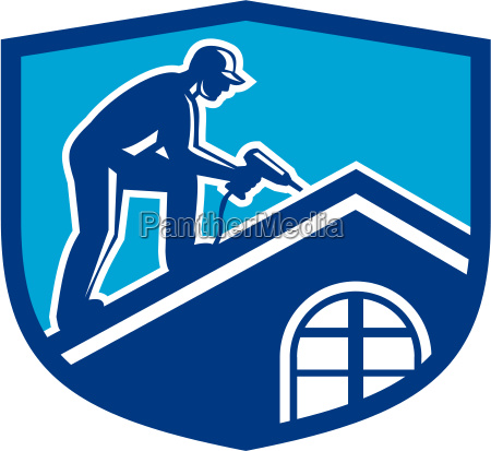 roofer construction worker working shield retro