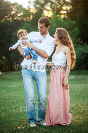 young, beautiful, father, , mother, and, little - 19134471