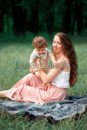 young, beautiful, mother, sitting, with, her - 19134453