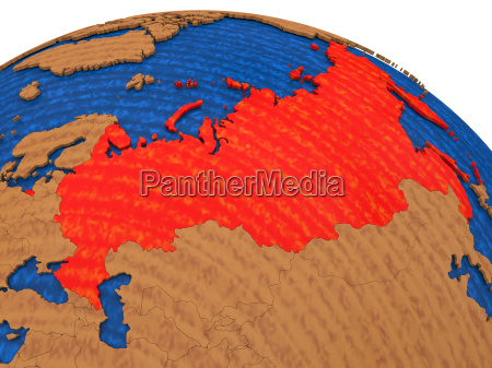 russia on wooden globe