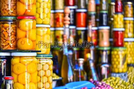 jars of preserved food on the