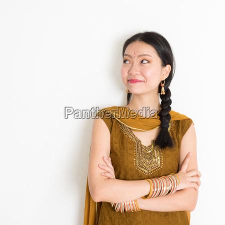 mixed race indian girl in sari