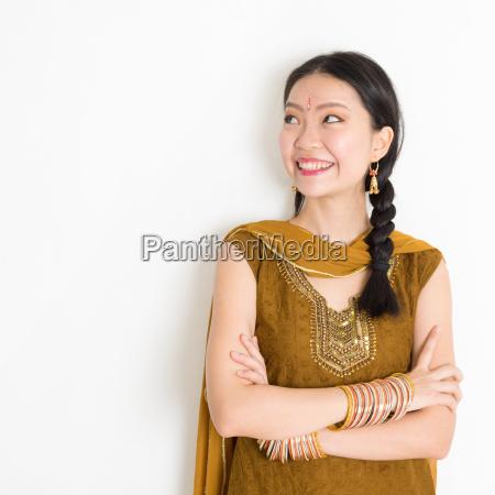 mixed race indian female in sari