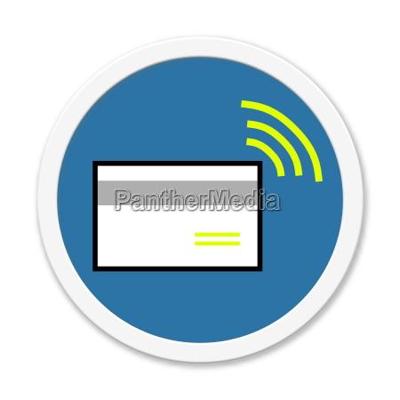 blue round button credit card