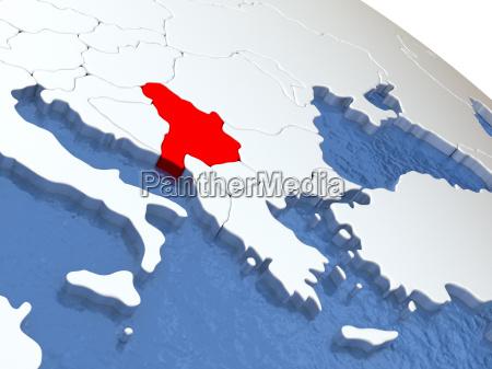 serbia on globe