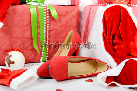 the christmas gift boxes and woman