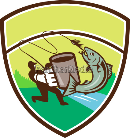 fly fisherman mug salmon crest retro