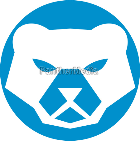 polar bear head circle retro