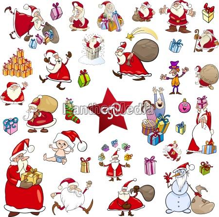 cartoon christmas characters set