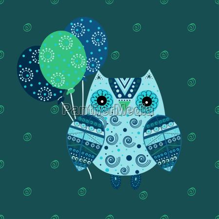 cute owl with ethnic ornament birthday