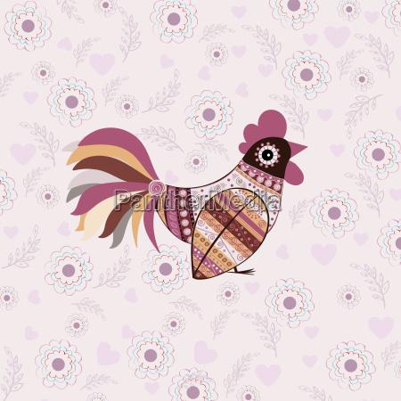 cock, bird, ethnic, pattern - 19157491