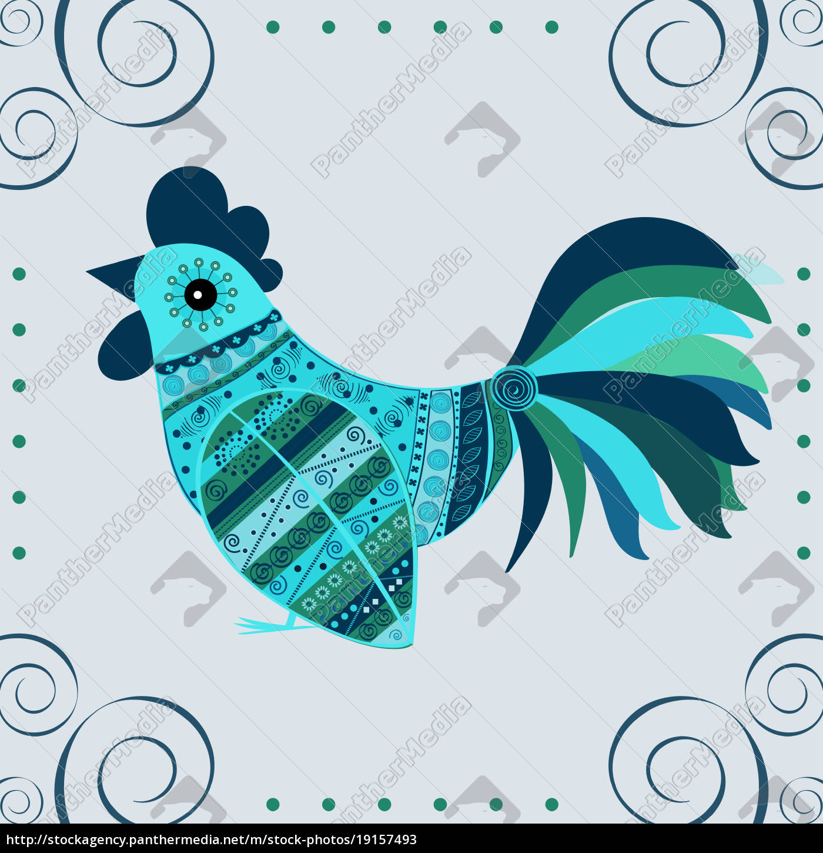cock, bird, ethnic, pattern - 19157493