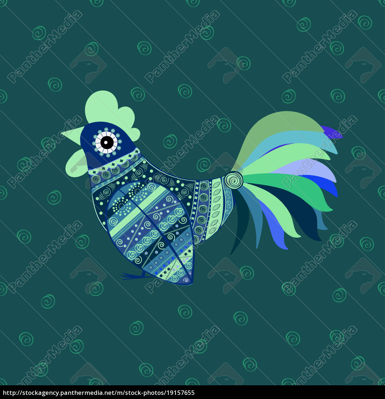 cock, bird, ethnic, pattern - 19157655