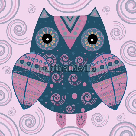 cute, owl, with, ethnic, ornament - 19157661