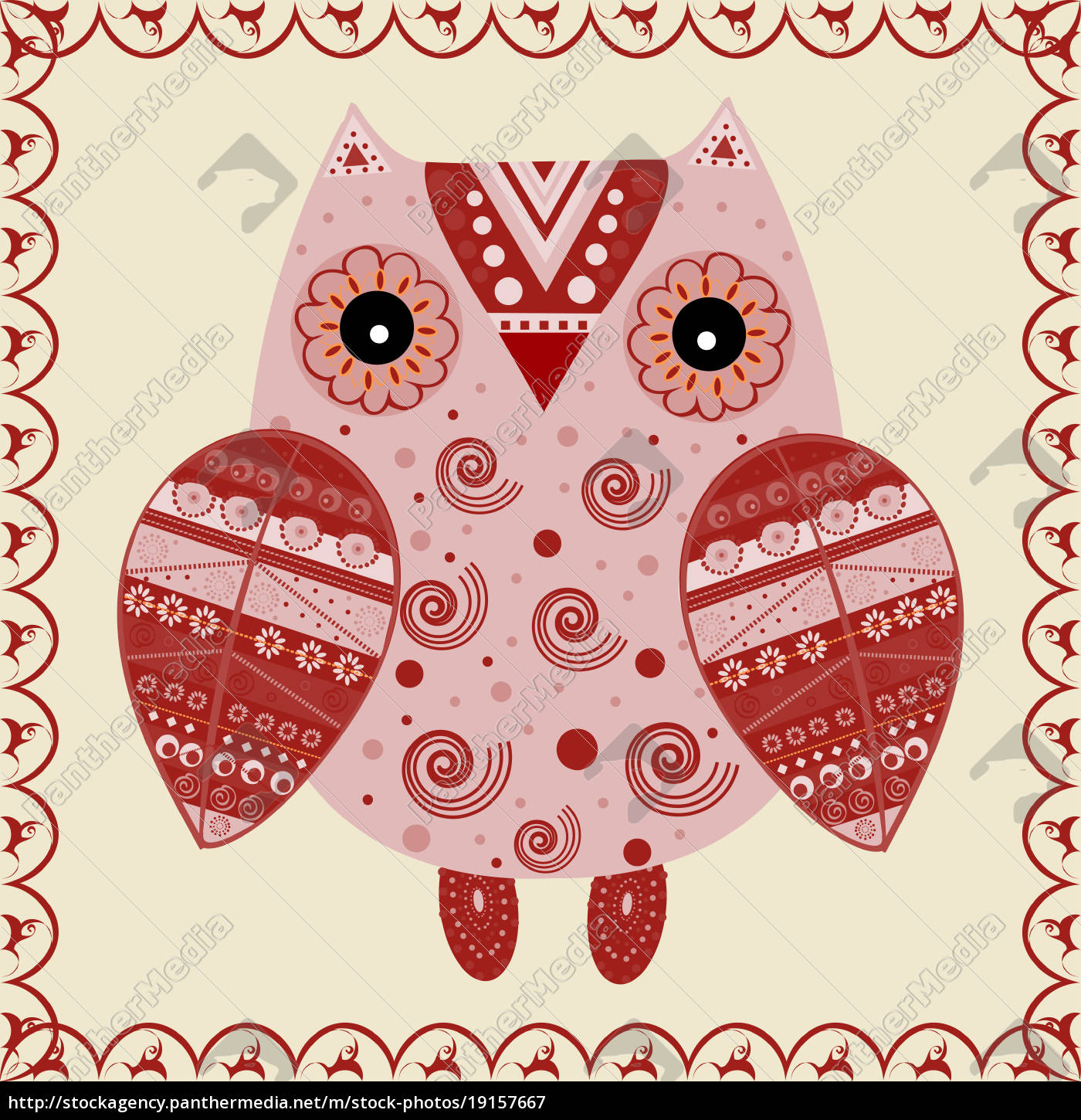 cute, owl, with, ethnic, ornament - 19157667