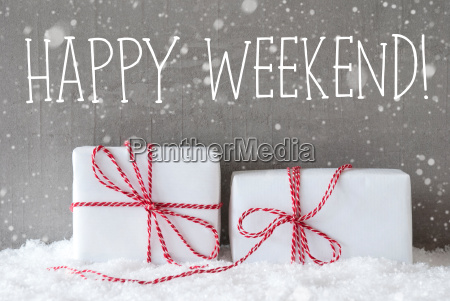 two, gifts, with, snowflakes, , text, happy - 19157877