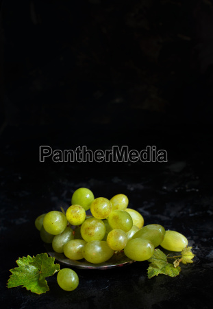 white grapes on a dark background