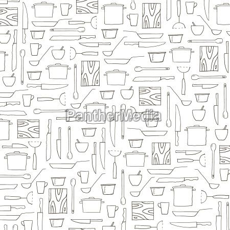 hand drawn kitchenware black and white