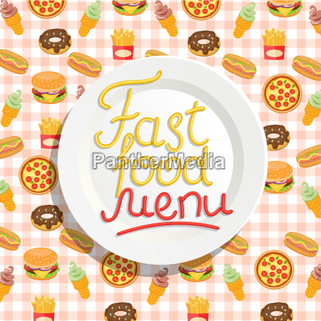 fast, food, menu, with, plate. - 19158177