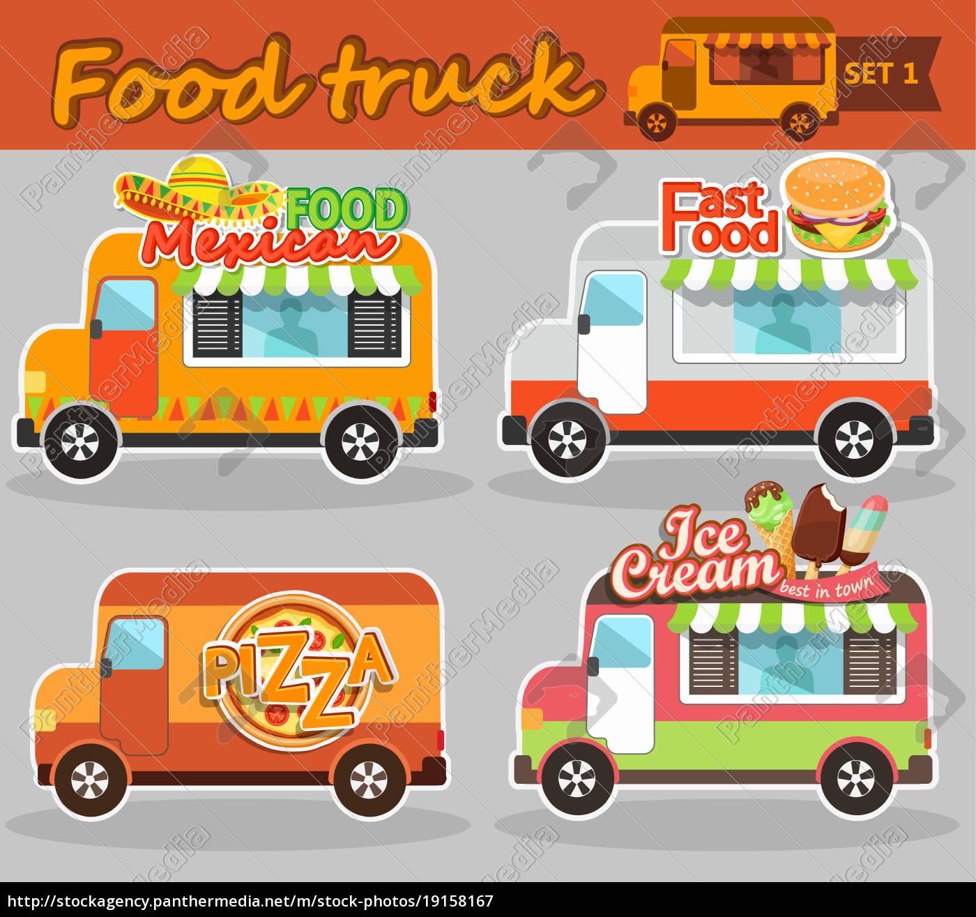 food, truck, vector, illustrations. - 19158167