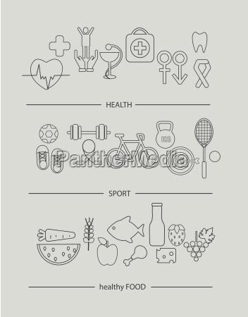 modern thin line icons set of