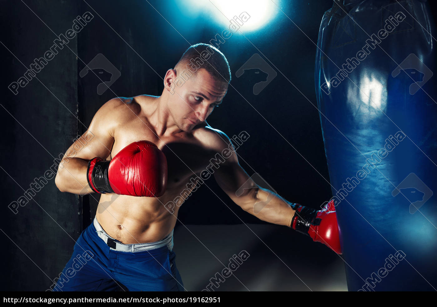 male, boxer, boxing, in, punching, bag - 19162951