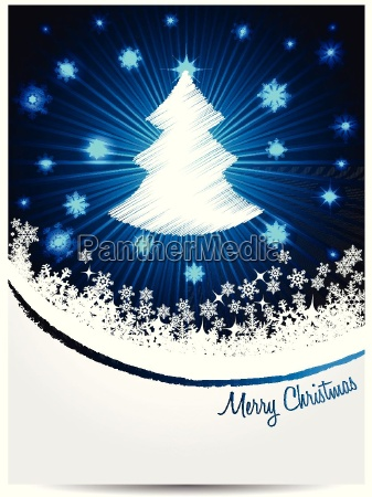 blue white christmas greeting with bursting