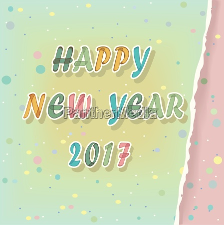 happy new year 2017 watercolor greeting