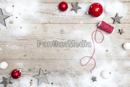 weihnachtlicher gray wooden background with decoration