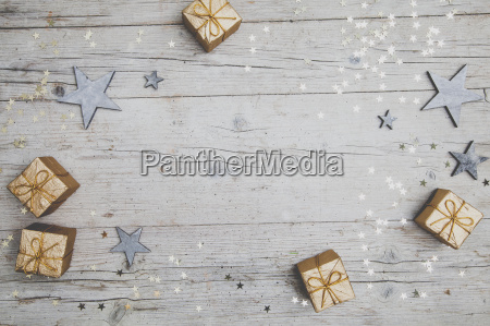 christmas grey wood background with decoration