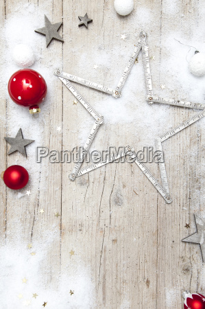 christmas, grey, wood, background, with, decoration - 19163839