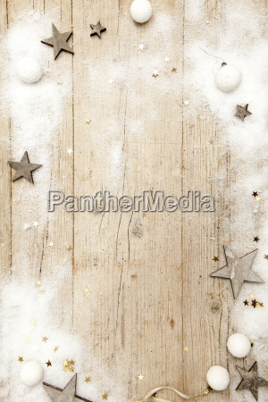 christmas, grey, wood, background, with, decoration - 19163875