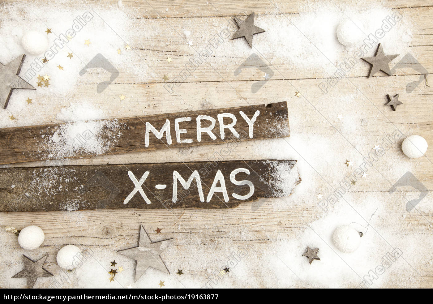 christmas, grey, wood, background, with, decoration - 19163877