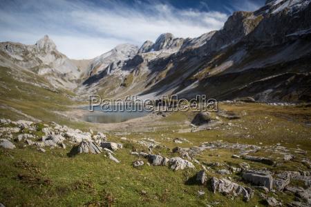 splendid mountain lake in swiss alps