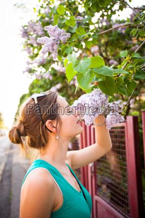 beautiful, young, woman, smelling, white, jasmin - 19164843
