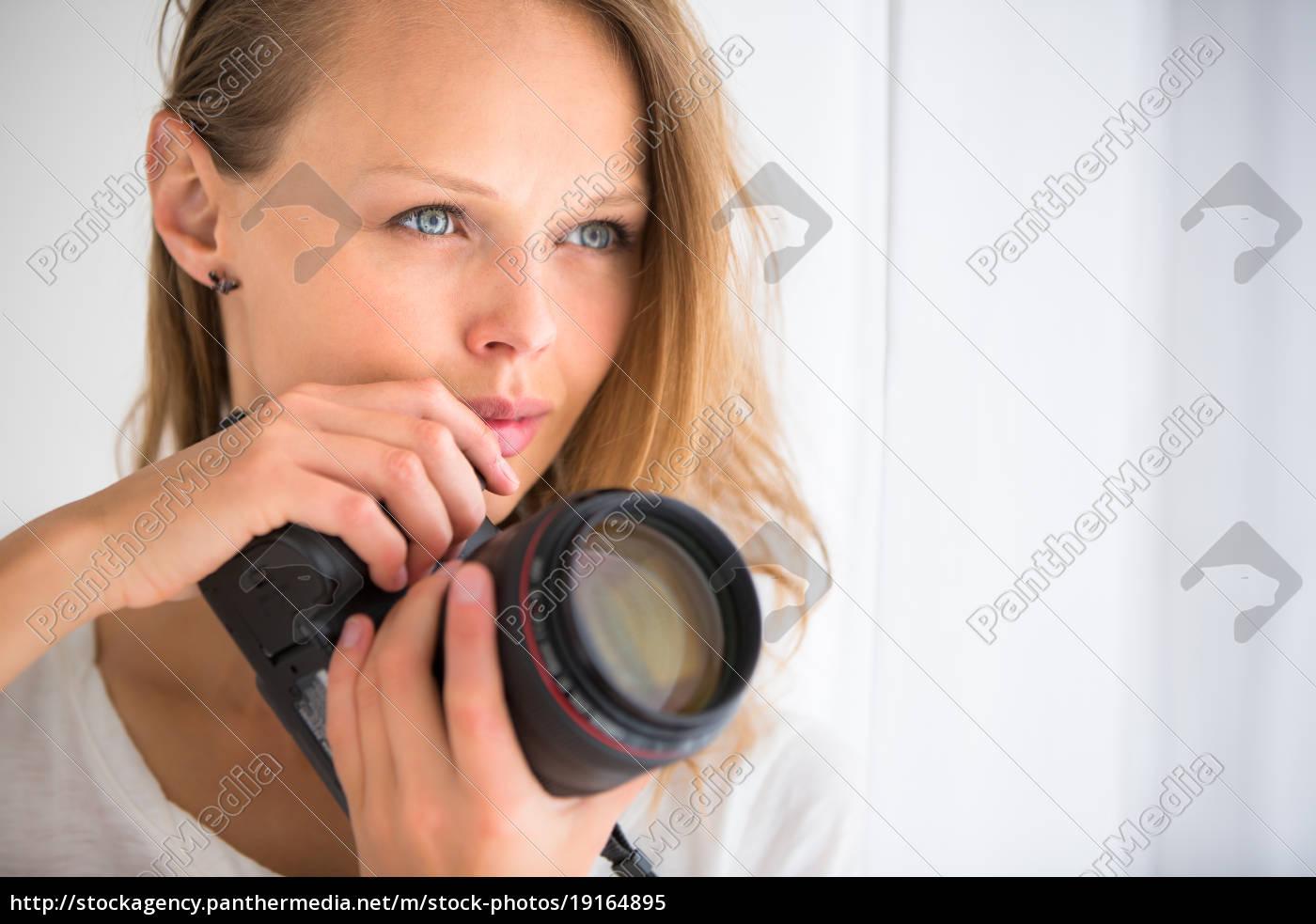 pretty, , female, photographer, with, digital, camera - 19164895