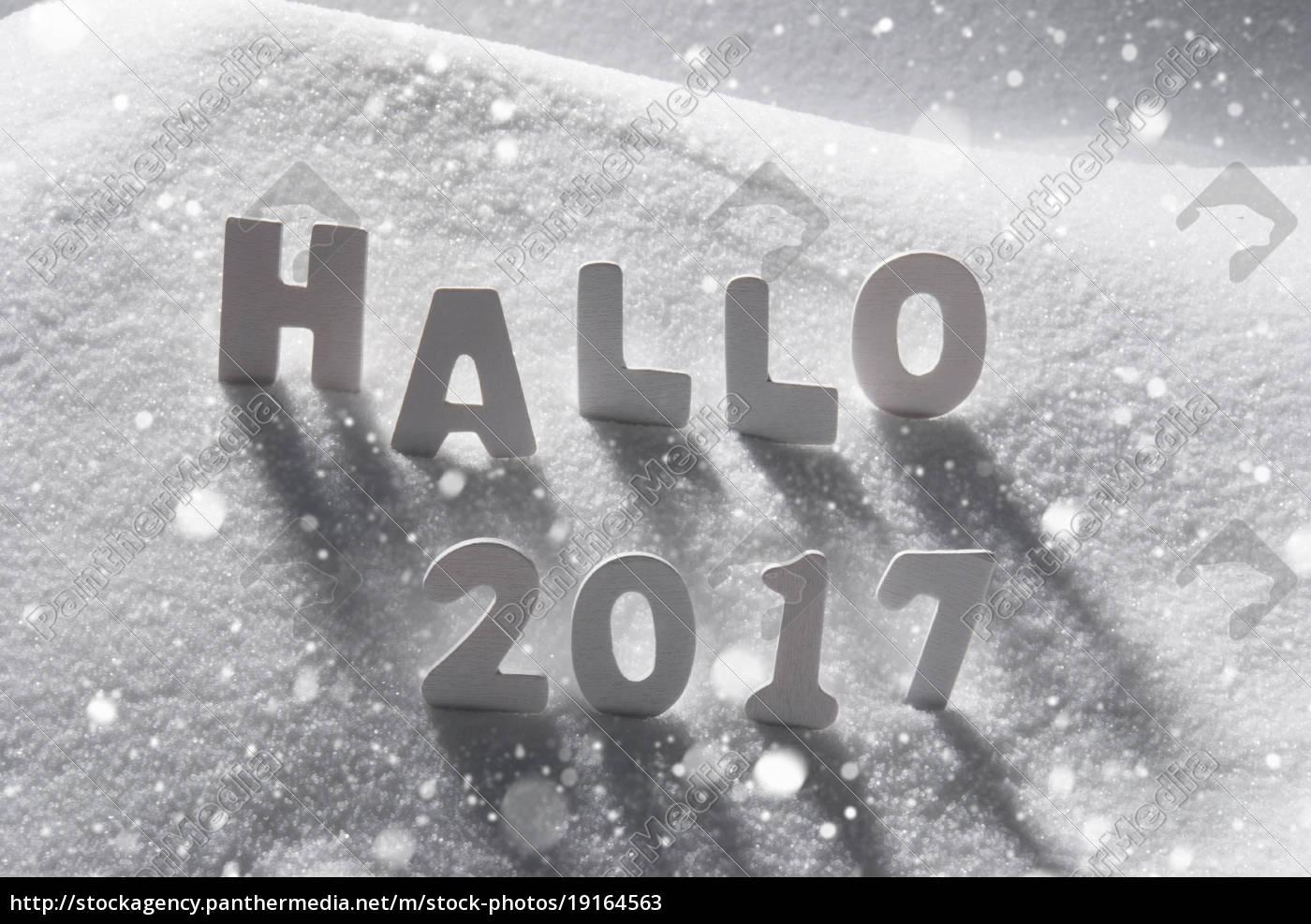 text, hallo, 2017, means, hello, , white - 19164563