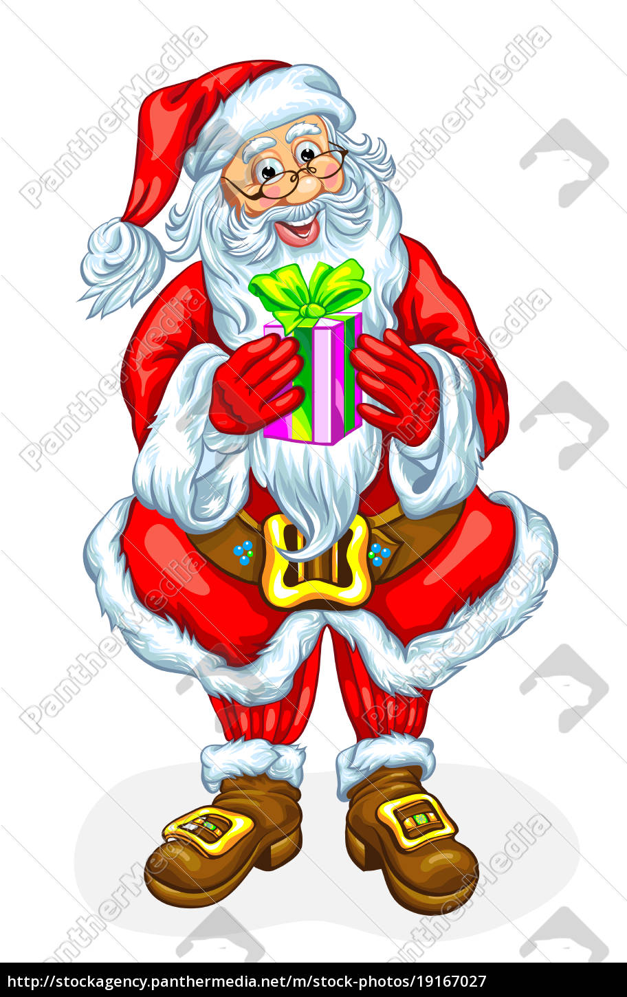 santa, claus, with, a, gift, in - 19167027