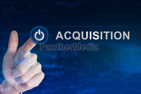 business hand clicking acquisition button