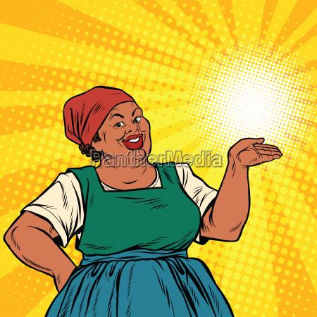 retro woman african american gesture promo