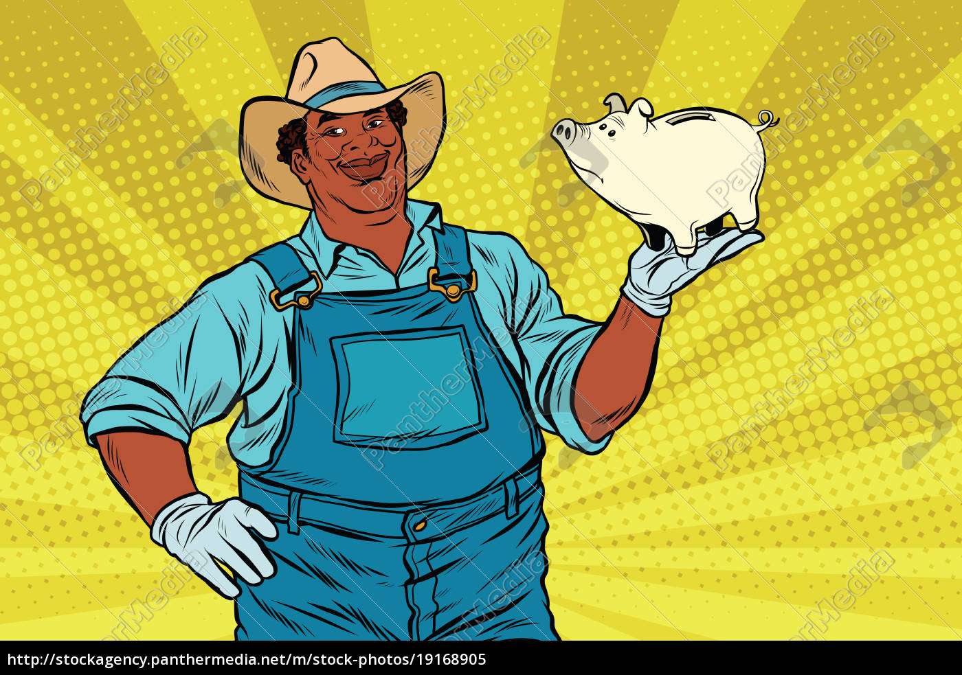 african, american, farmer, with, a, pig-piggy - 19168905
