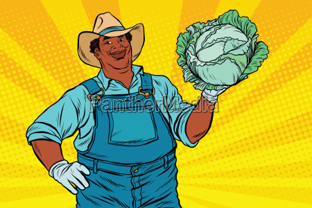 african, american, farmer, with, cabbage - 19168901